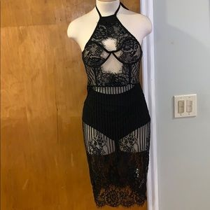 Black lace halter dress with Booty shorts